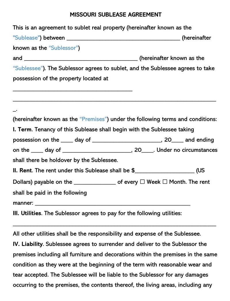Missouri SubLease Agreement Template