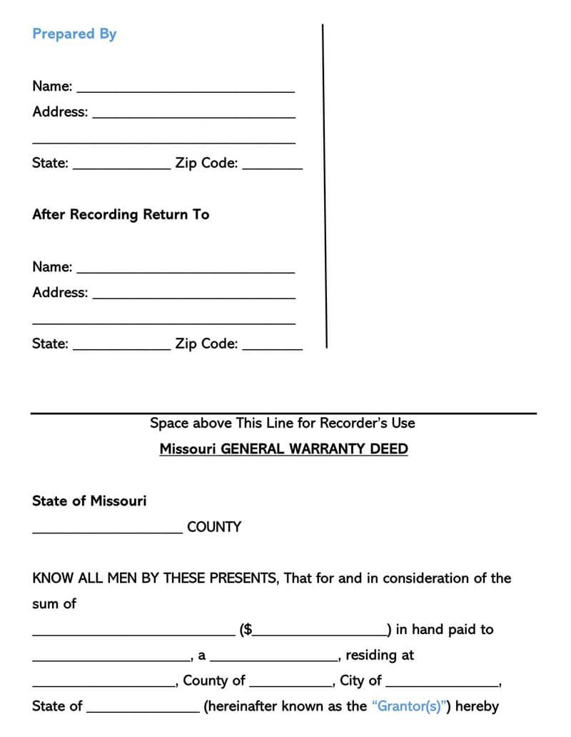 Missouri Warranty Deed Form