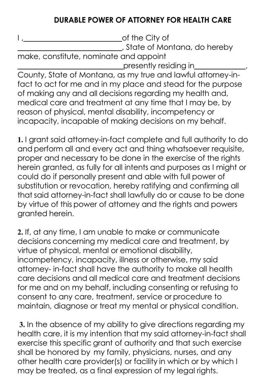 Montana Medical POA Form