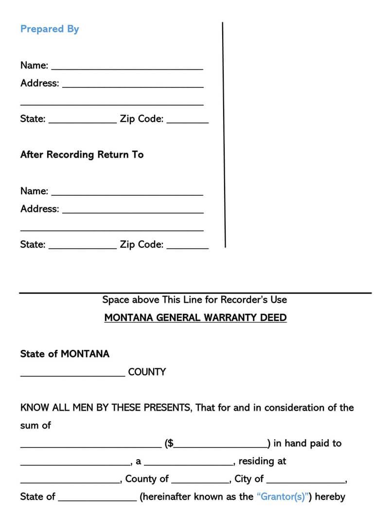 Montana Warranty Deed Form