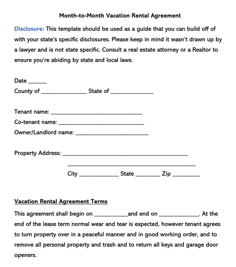 Month-to-Month Vacation Rental Lease Agreement