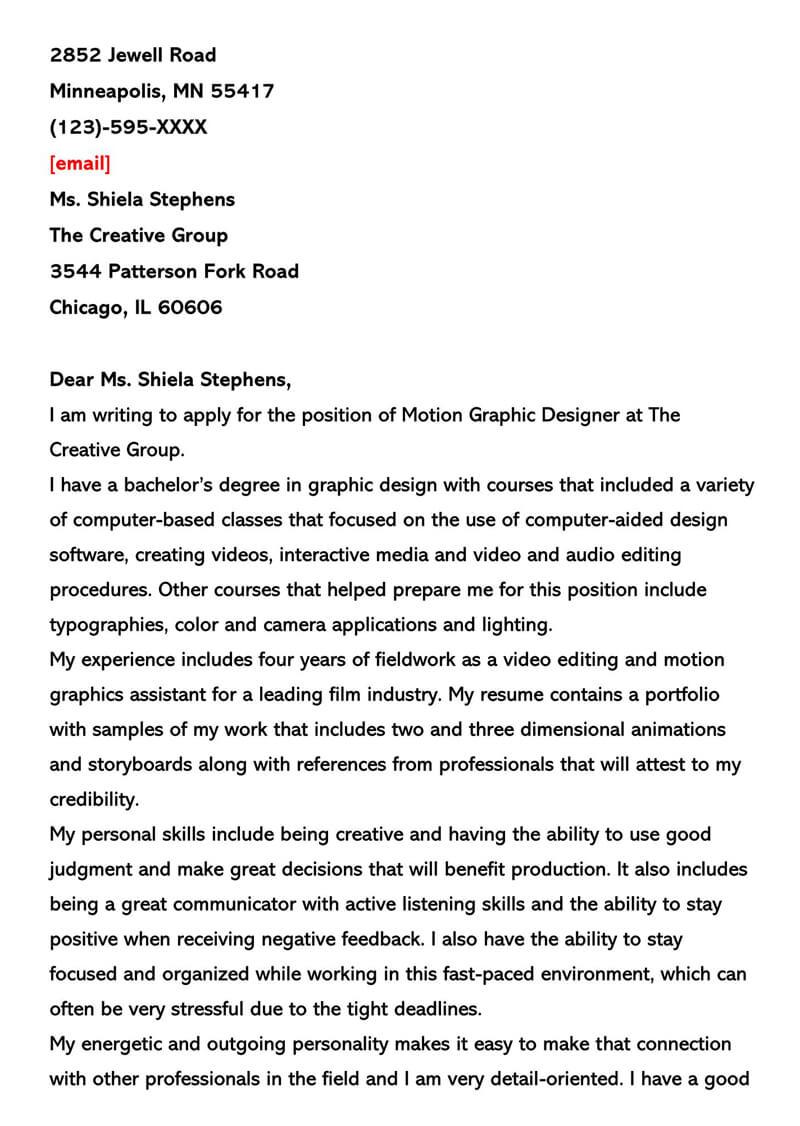 Motion Graphic Designer Cover Letter