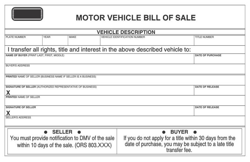 Motor Vehicle Bill of Sale Form 02