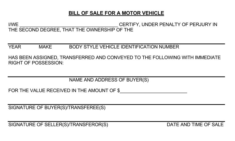 Motor Vehicle Bill of Sale Form 04
