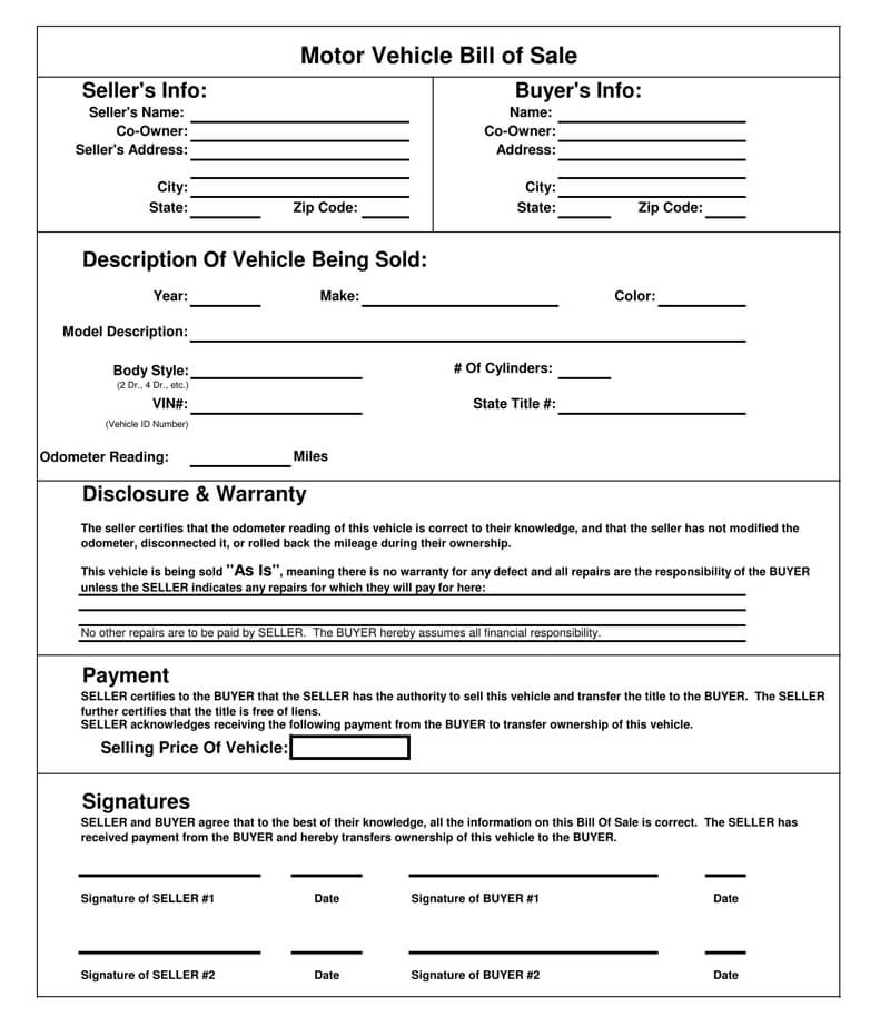 Motor Vehicle Bill of Sale Form 06