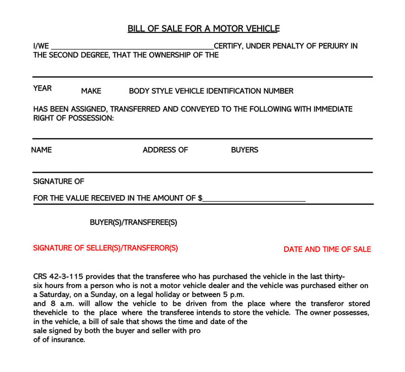 Motor Vehicle Bill of Sale Sample Form 03