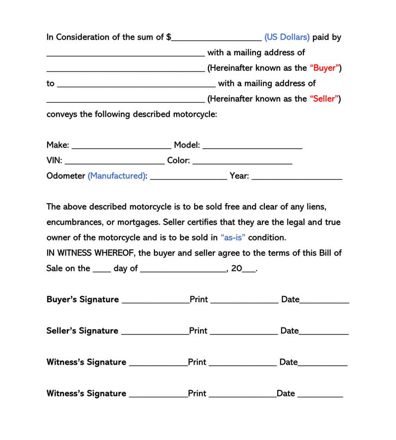 Motorcycle Bill of Sale Form