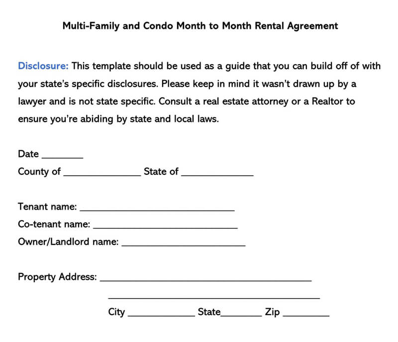 Multi Family and Condo Month-to-Month Rental Agreement