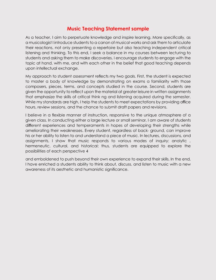 free download music teaching statement