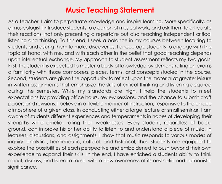 Music Teaching Statement Samples and Examples