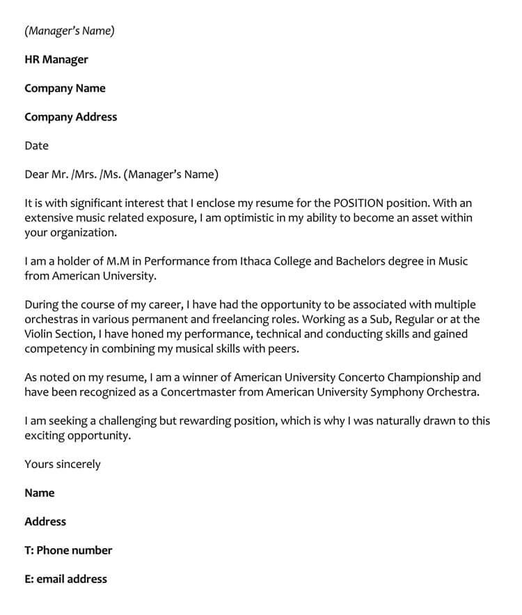 Musician Cover Letter Sample