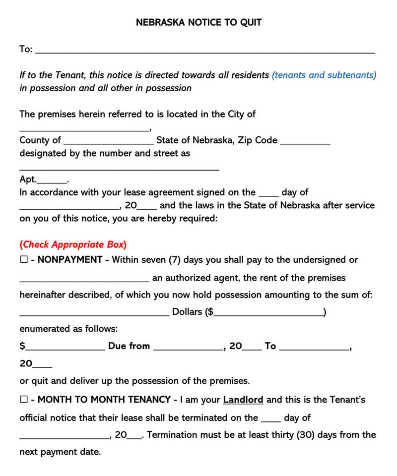 Nebraska Eviction Notice Form