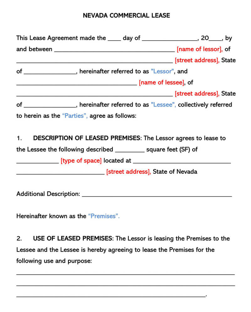 Nevada Commercial Rental Lease Agreement