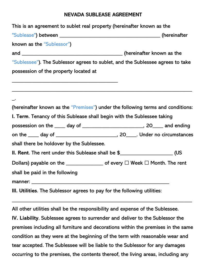 Nevada SubLease Agreement Template