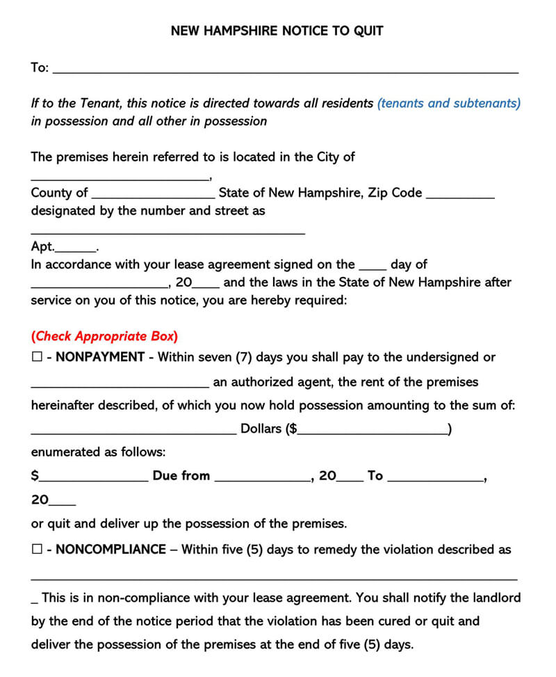 New Hampshire Eviction Notice Form