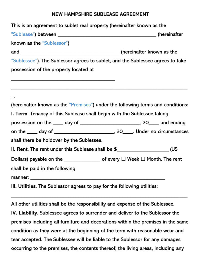 New Hampshire SubLease Agreement Template