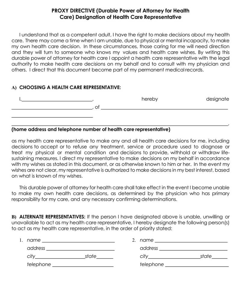 New Jersey Medical POA Form