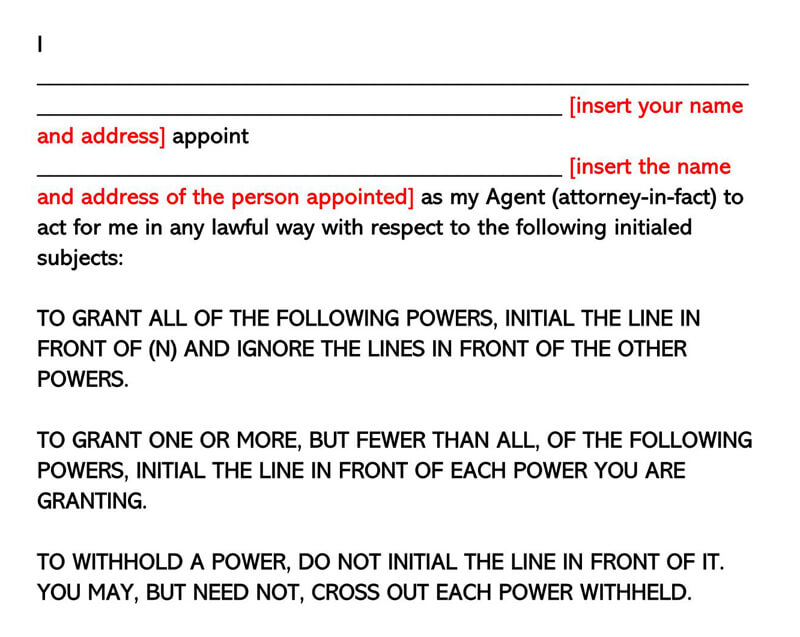 New Jersey Power of Attorney Form
