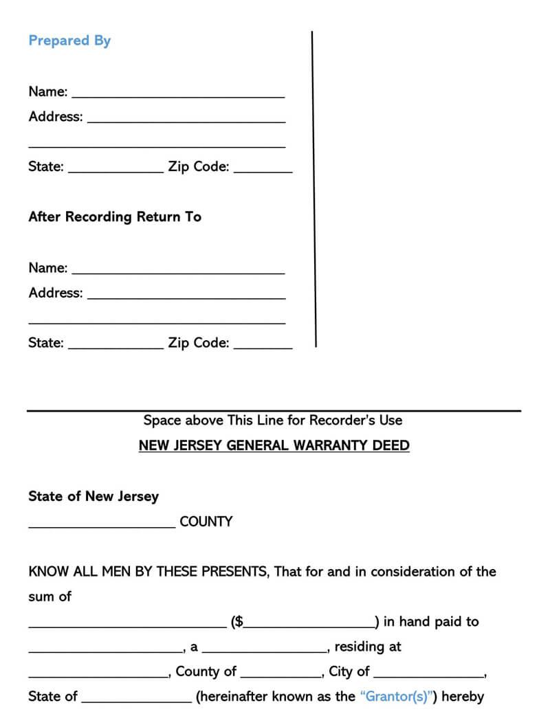 New Jersey Warranty Deed Form
