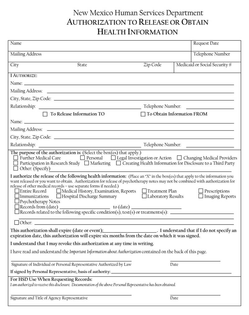 New Mexico HIPAA Release Form