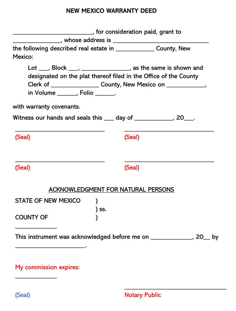 New Mexico Warranty Deed Form