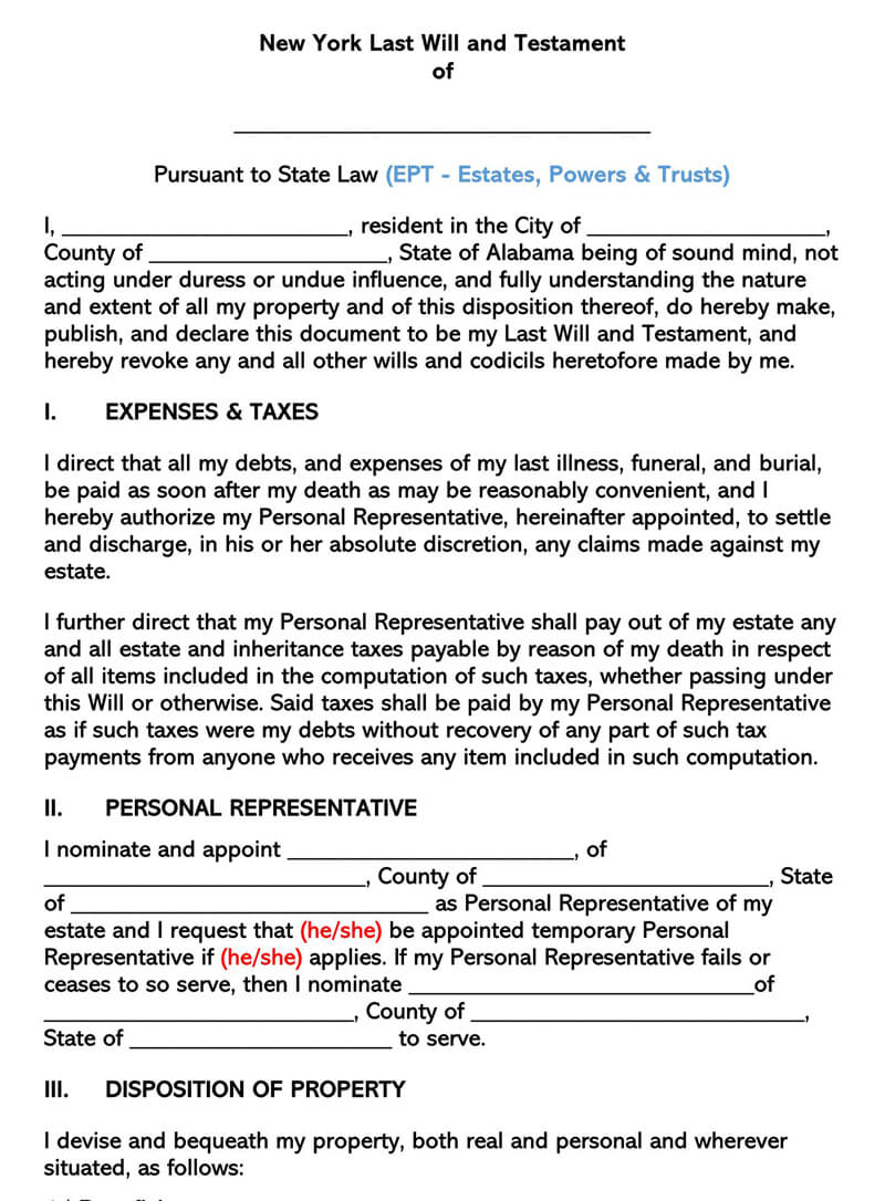 Free Last Will And Testament Forms Templates By States
