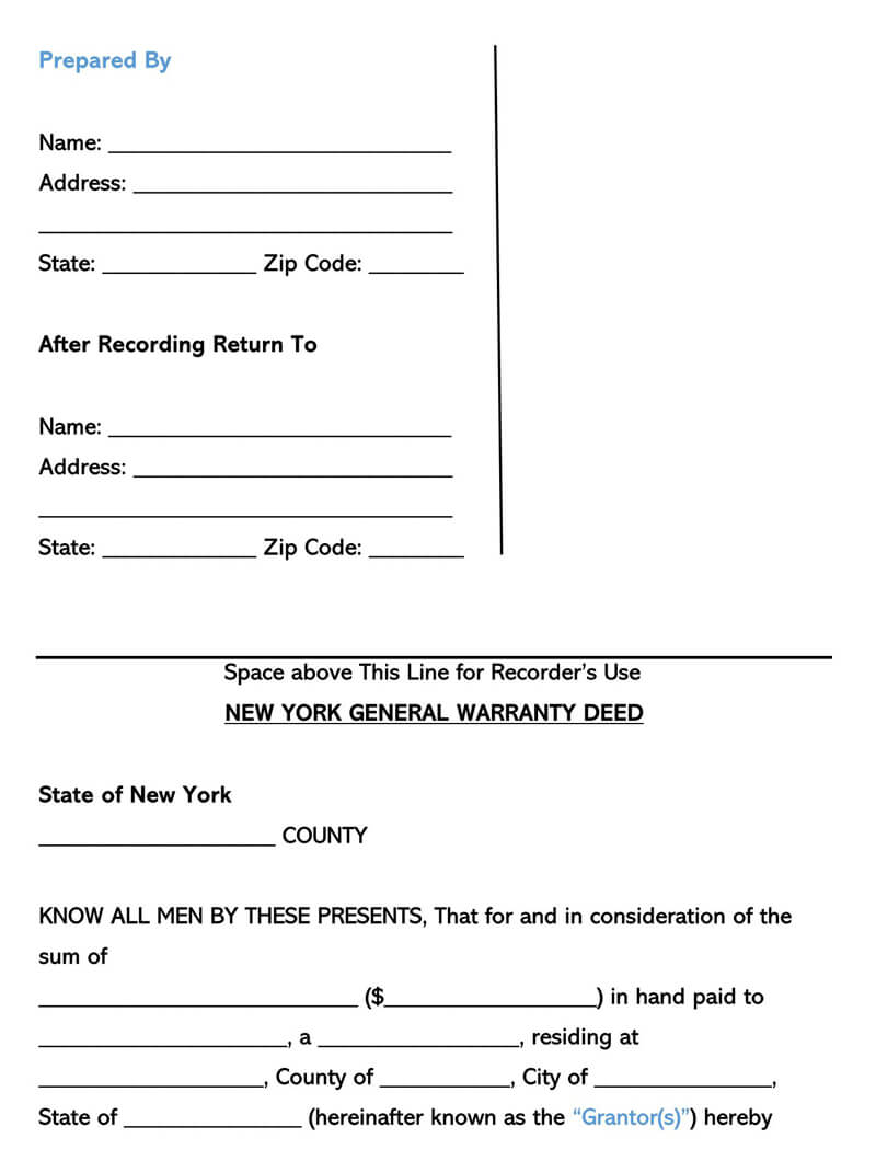 New York Warranty Deed Form