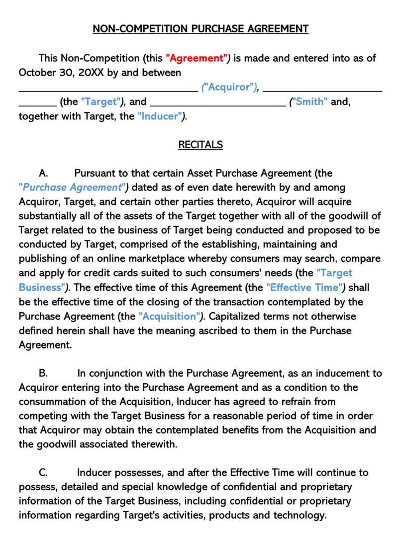 Non-Compete Purchase Agreement Template