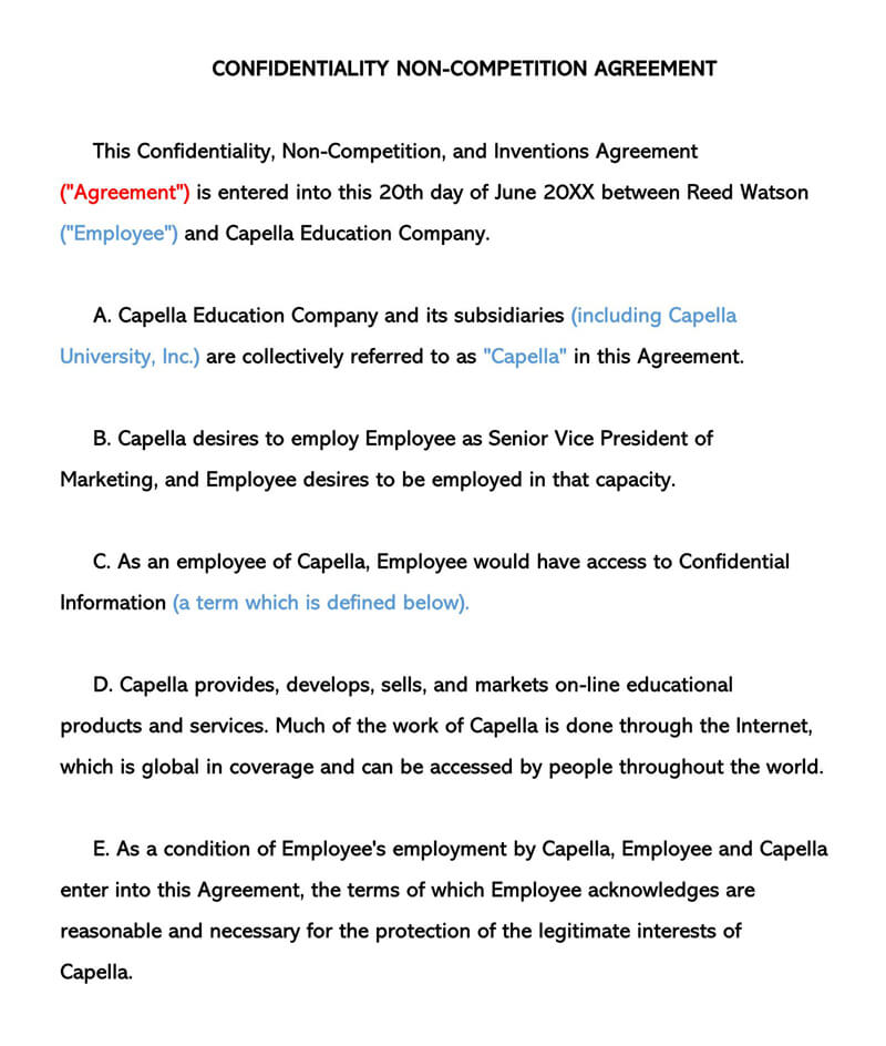 Non-Compete and Inventions Agreement Template