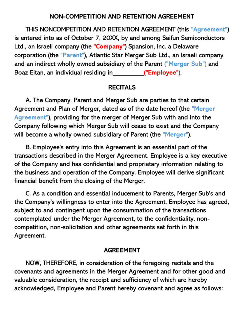 Non-Compete and Retention Agreement Template