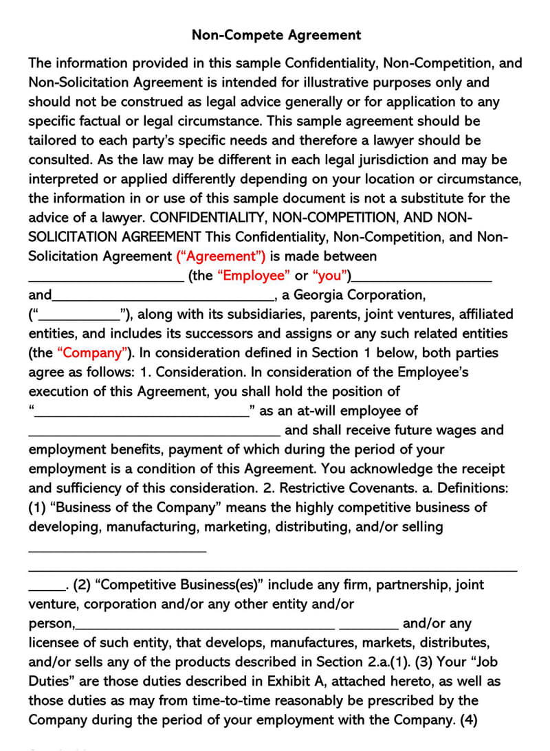 Non-Solicitation Agreement Template