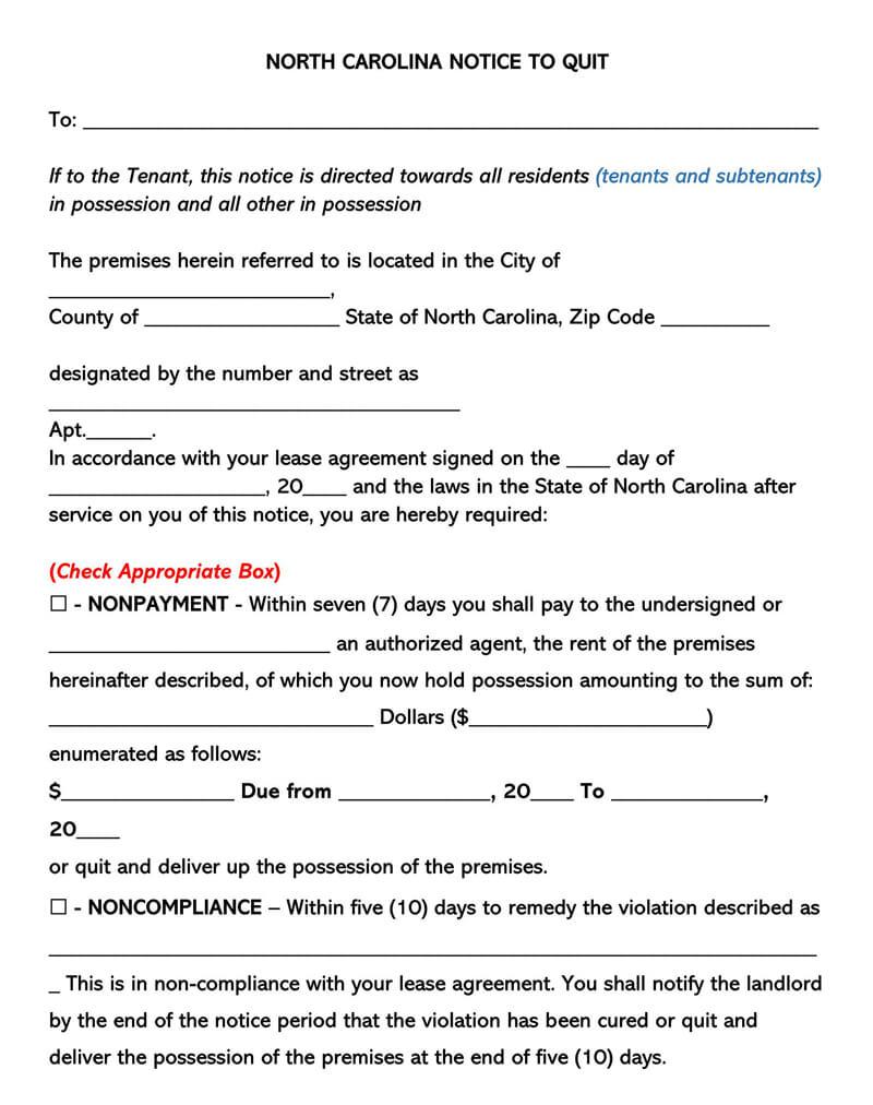 North Carolina Eviction Notice Form