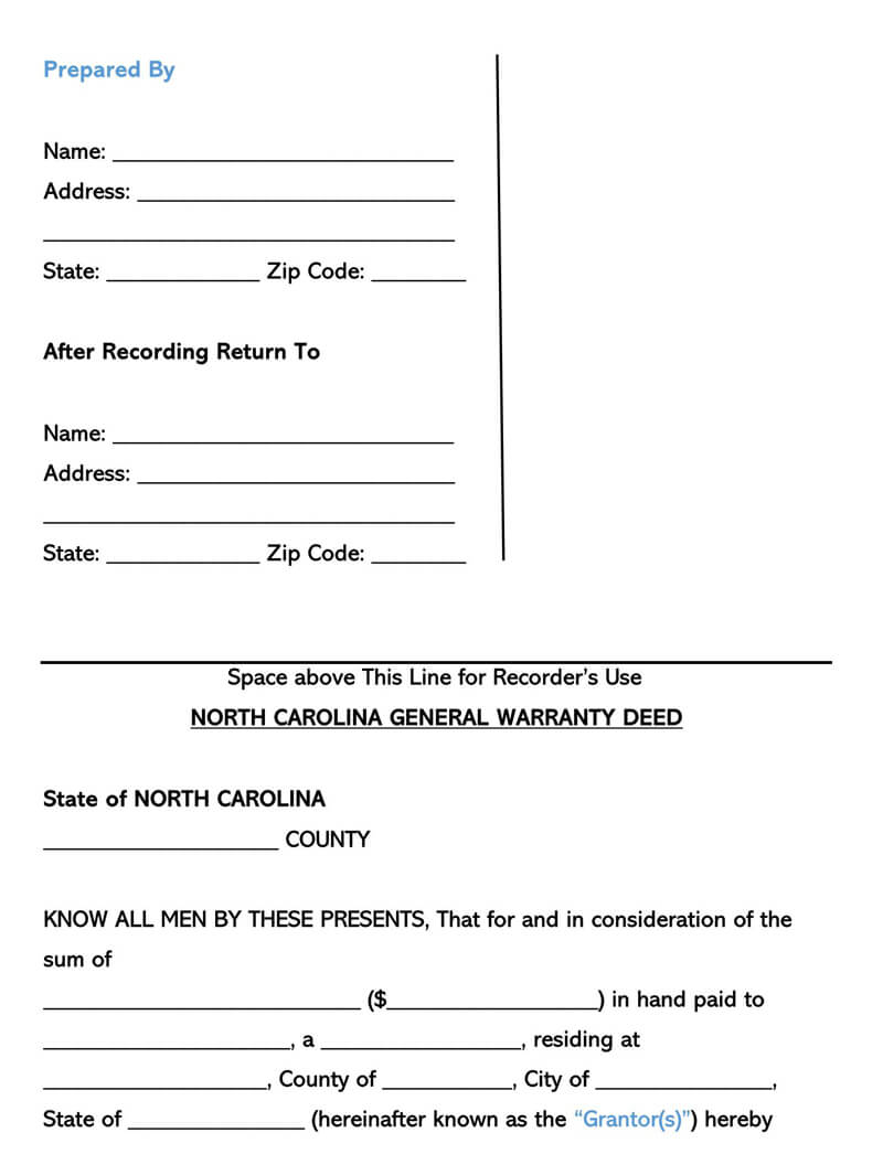 North Carolina Warranty Deed Form