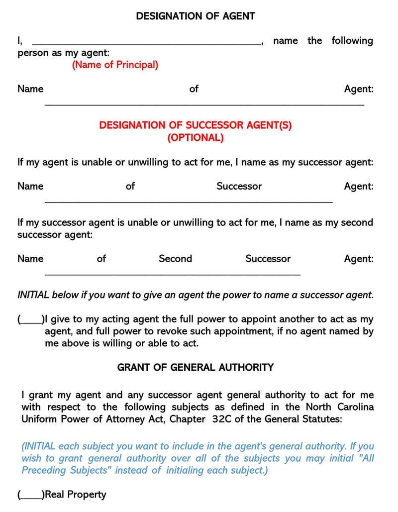 North Caroline Durable POA Form