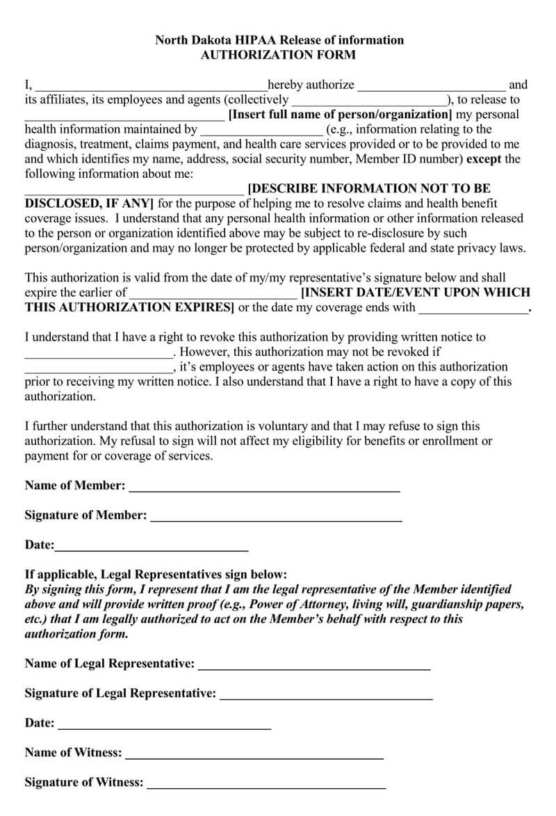 North Dakota HIPAA Medical Release Form