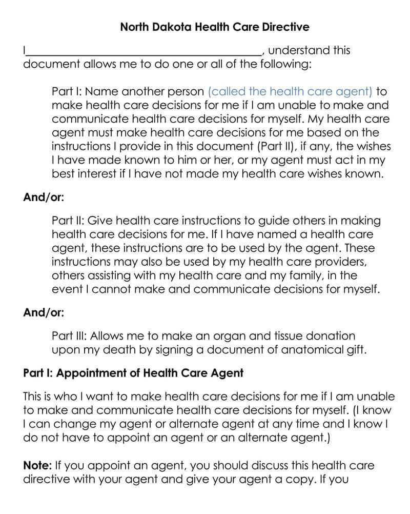 North Dakota Medical POA Form