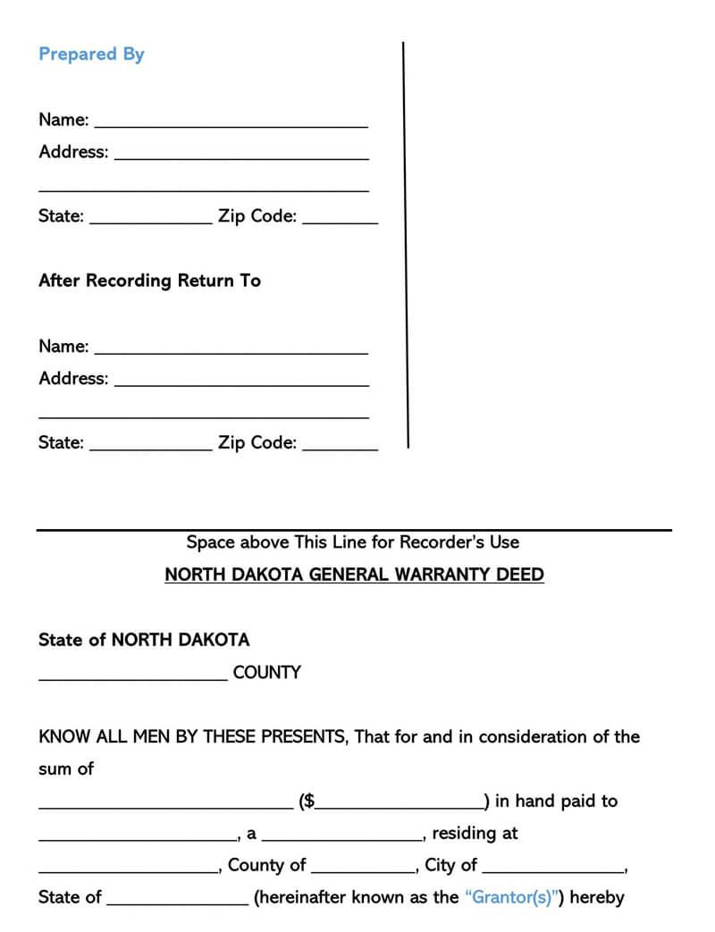 North Dakota Warranty Deed Form