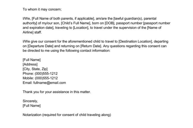 notarized letter for child travel