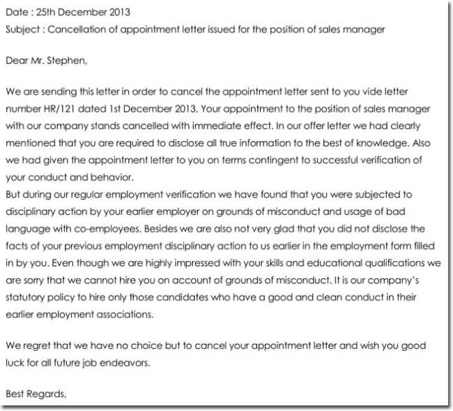 Appointment cancellation letter templates 9 samples formats notice of cancellation of job appointment altavistaventures Image collections