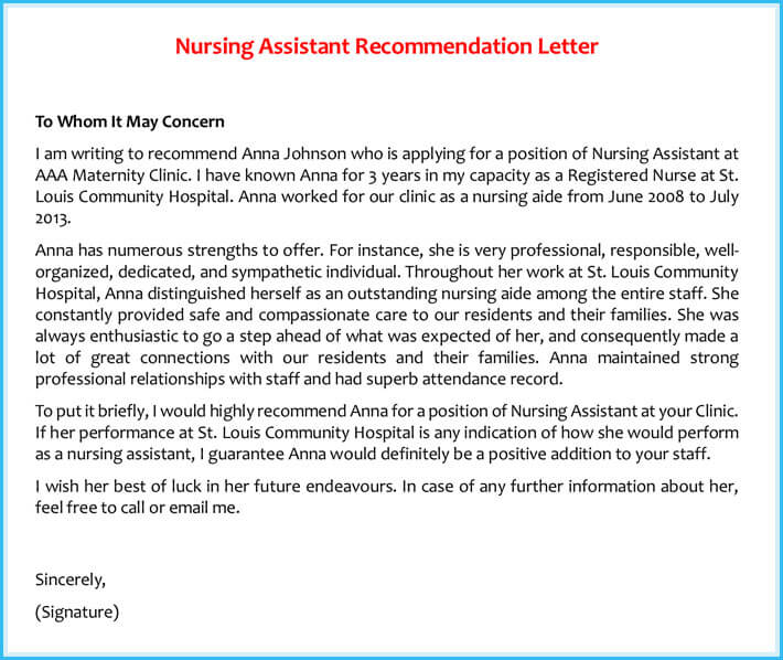 Nursing Assistant Recommendation Letter