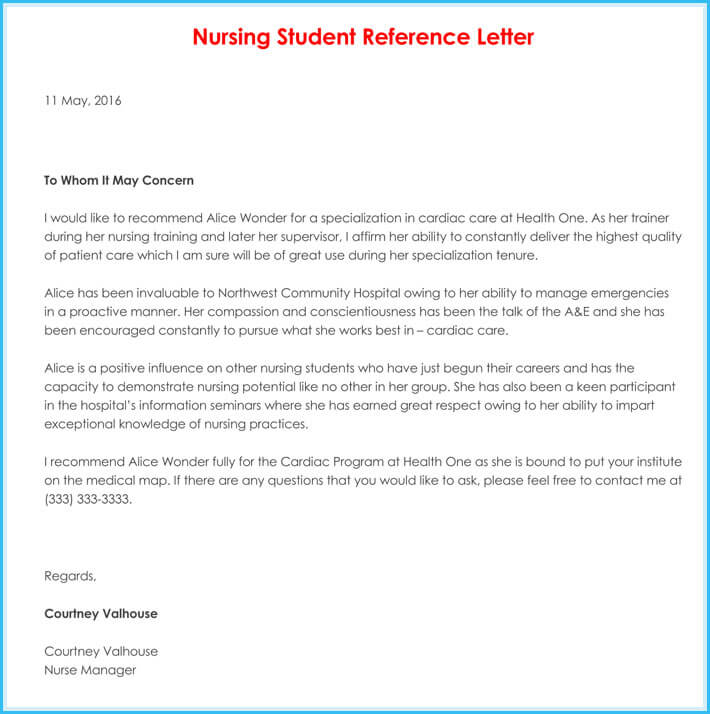 Free Download Nursing Reference Letter