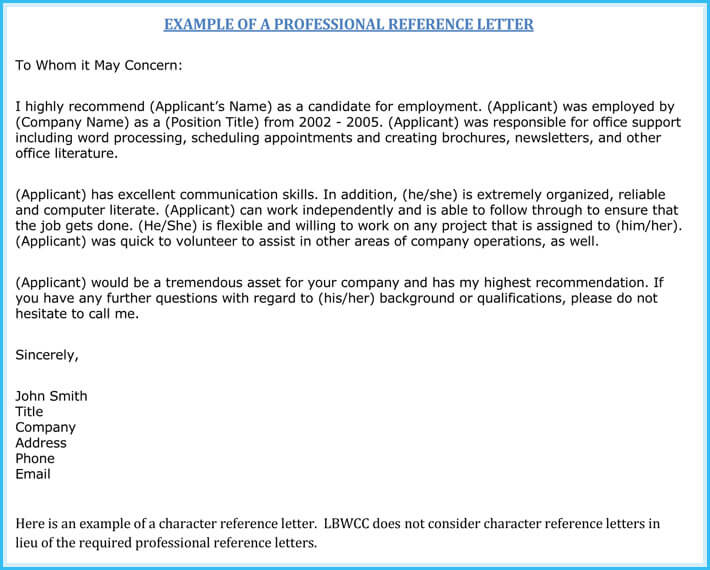 Nursing Reference Letter Example  Character Reference Letter For Employee