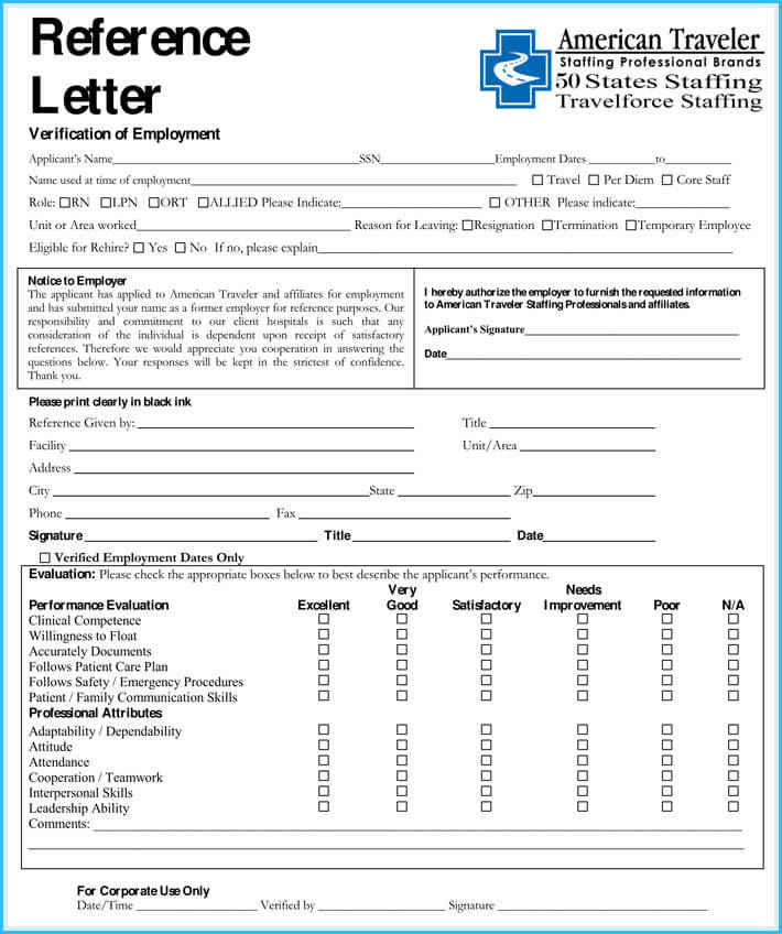 free printable nursing reference letter