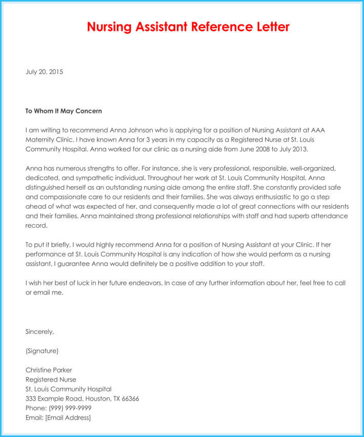 Superior Nursing Reference Letter Free Download