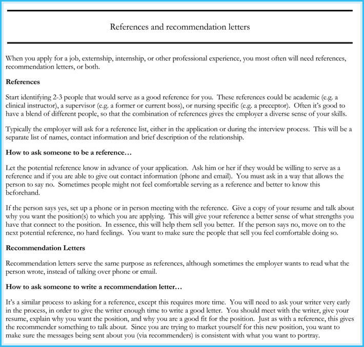 nursing reference    recommendation letters