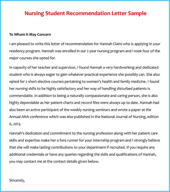 Nursing Student Recommendation Letter Sample
