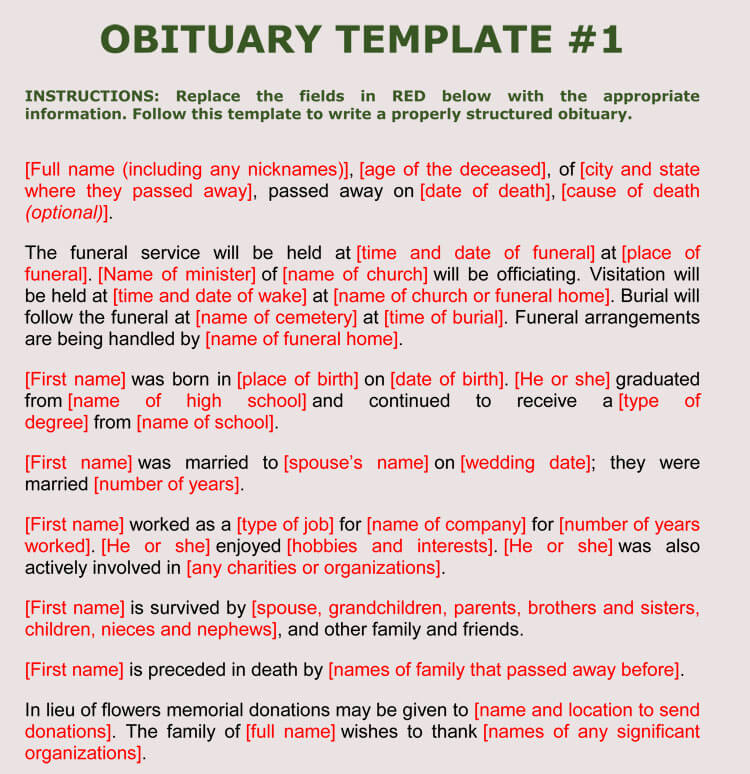 Obituary Samples and Examples