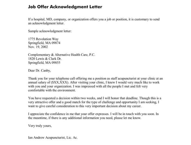 Offer Acknowledgment Letter