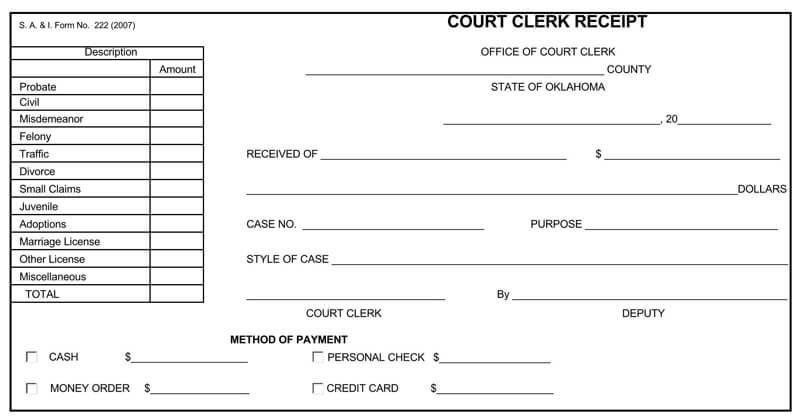 Official Court Clerk Receipt