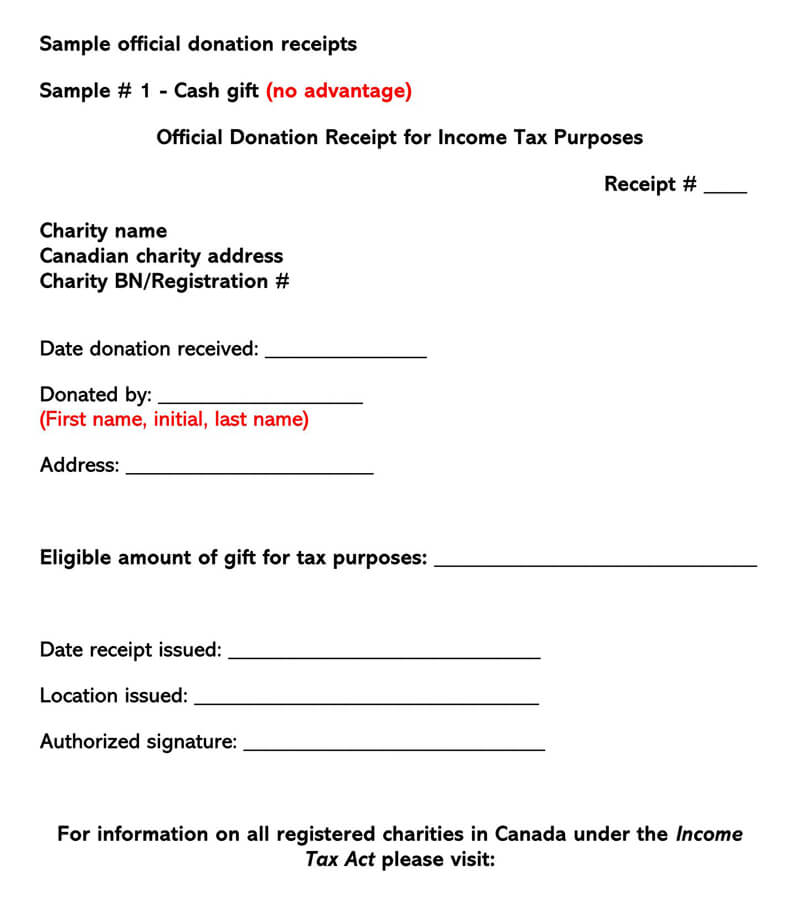 Official Donation Receipt Example